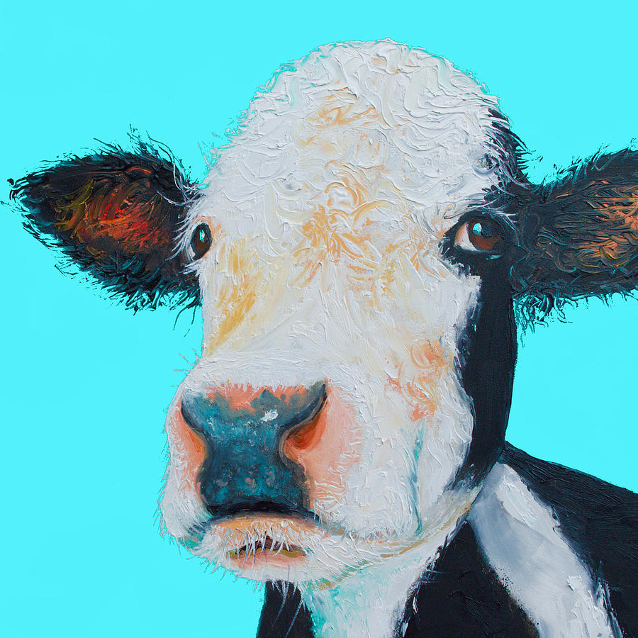 Black And White Cow Painting - Black And White Cow On Blue Background by Jan Matson