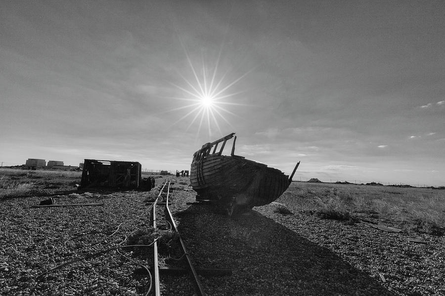 Landscape Photograph - Black and White Dungeness Boat by Prashant Meswani