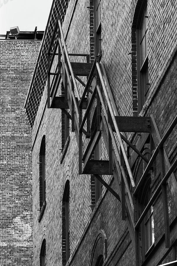 Denver Photograph - Black And White Fire Escape by Tony Hake