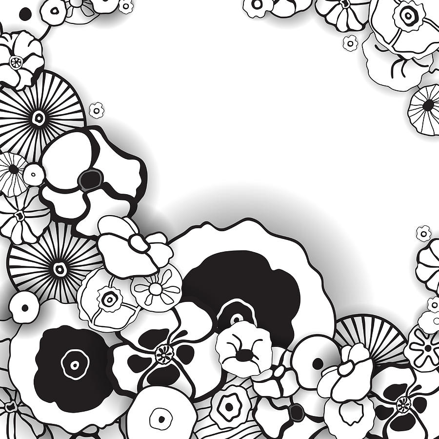 Black And White Floral Background Digital Art By Anna Khokhlova