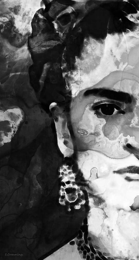 Frida Kahlo Painting - Black And White Frida Kahlo by Sharon Cummings by Sharon Cummings