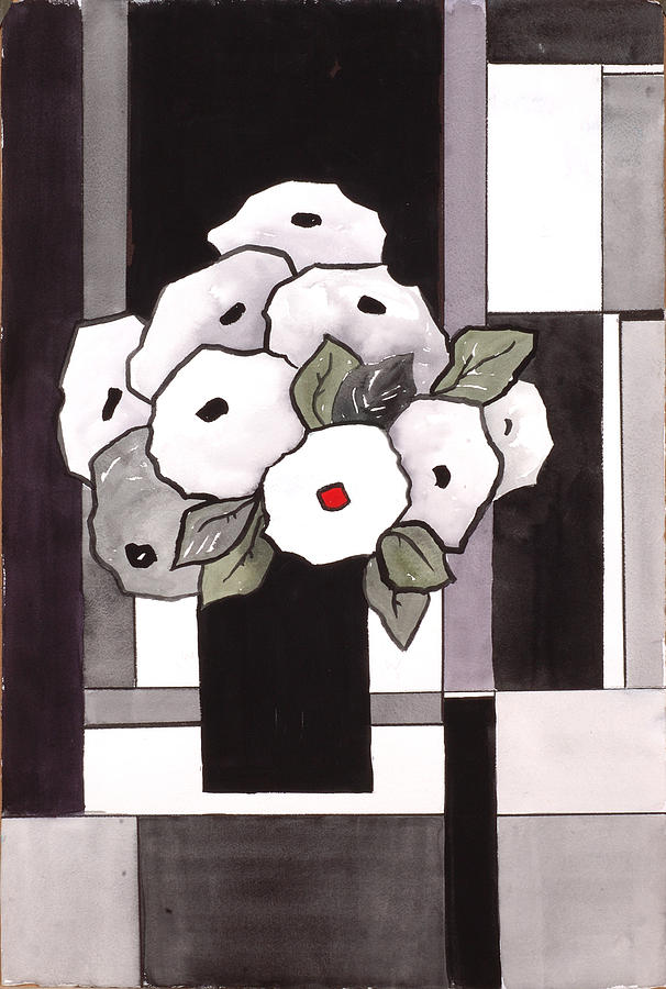 Watercolor Painting - Black and White Funny Flowers by Carrie Allbritton