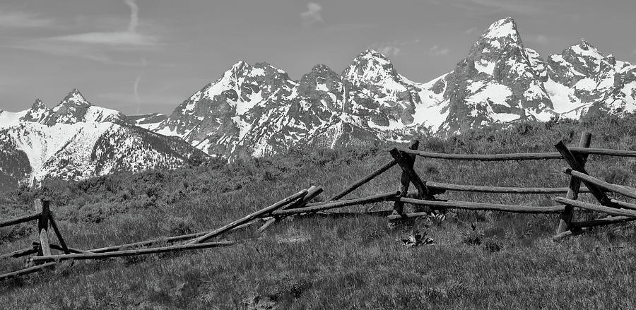 Old fence photograph black and white grand teton mountains old fence by dan sproul