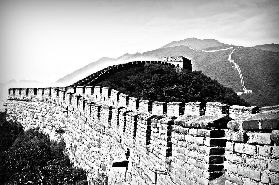Black Photograph - Black and White Great Wall by Alessandro Giorgi Art Photography
