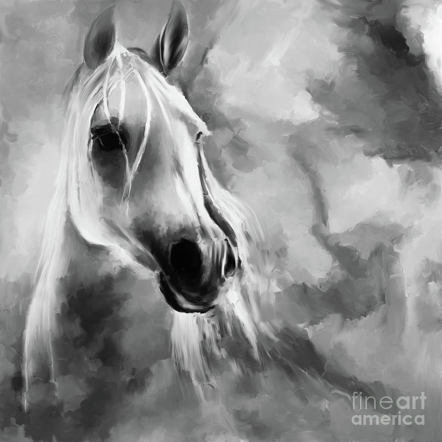 Black And White Horse Painting by Gull G