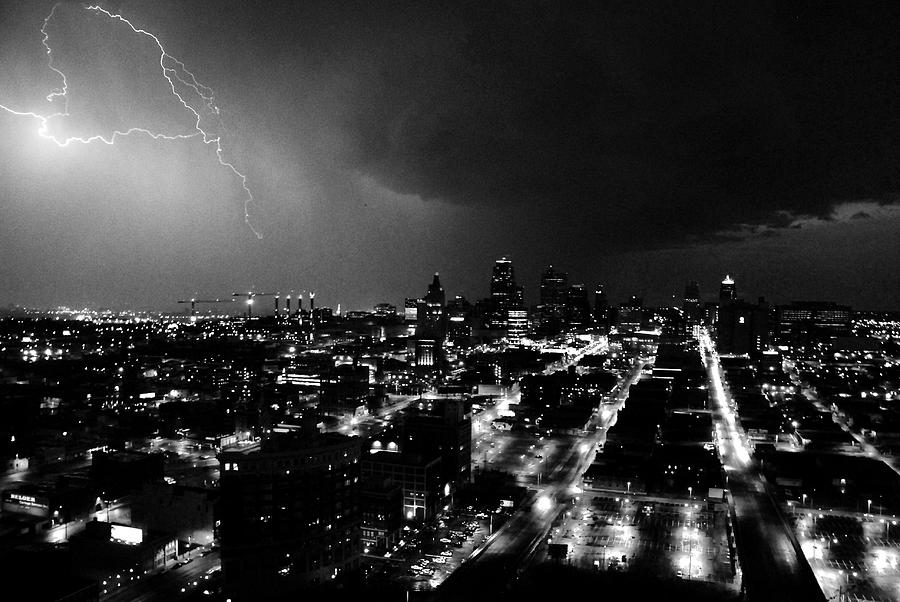 black and white lighting over kansas city photograph by steven crown