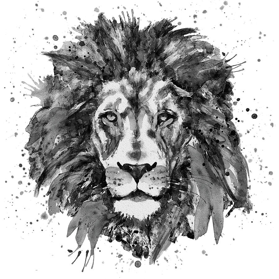 Lion painting black and white lion head by marian voicu