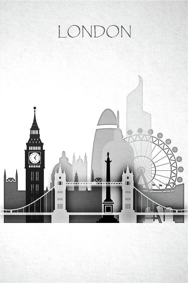 Black And White London Skyline Painting by Dim Dom  London Skyline Black And White