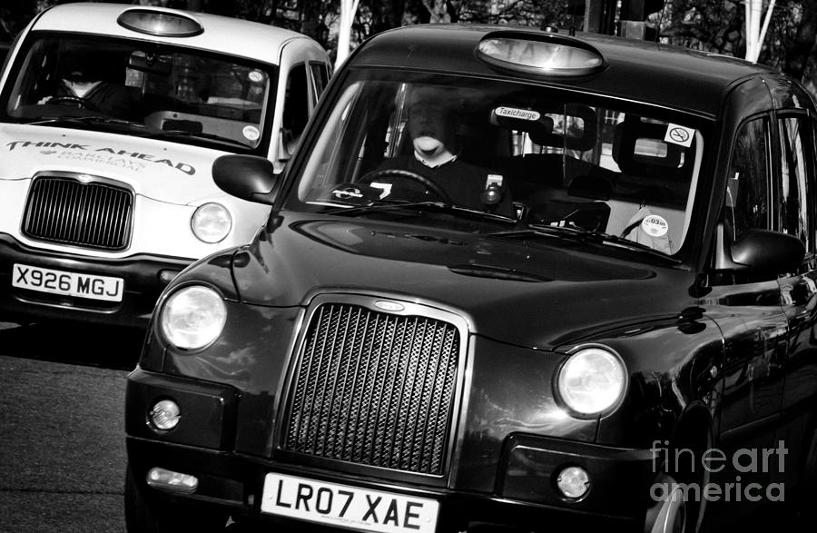 Black And White Photograph - Black And White London Taxi Cabs by Andy Smy