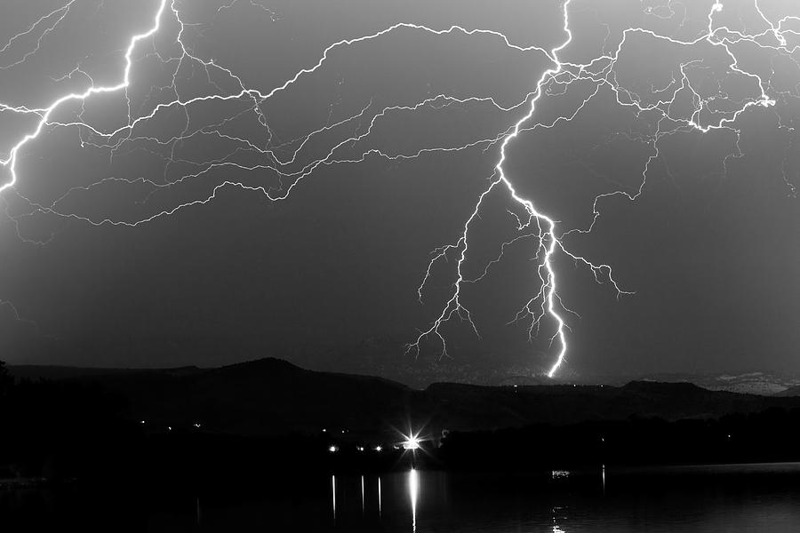 Black And White Massive Lightning Strikes Photograph By