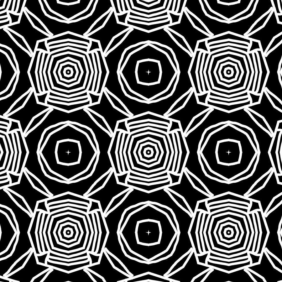 Black Digital Art - Black And White Modern Roses- Pattern Art By Linda Woods by Linda Woods