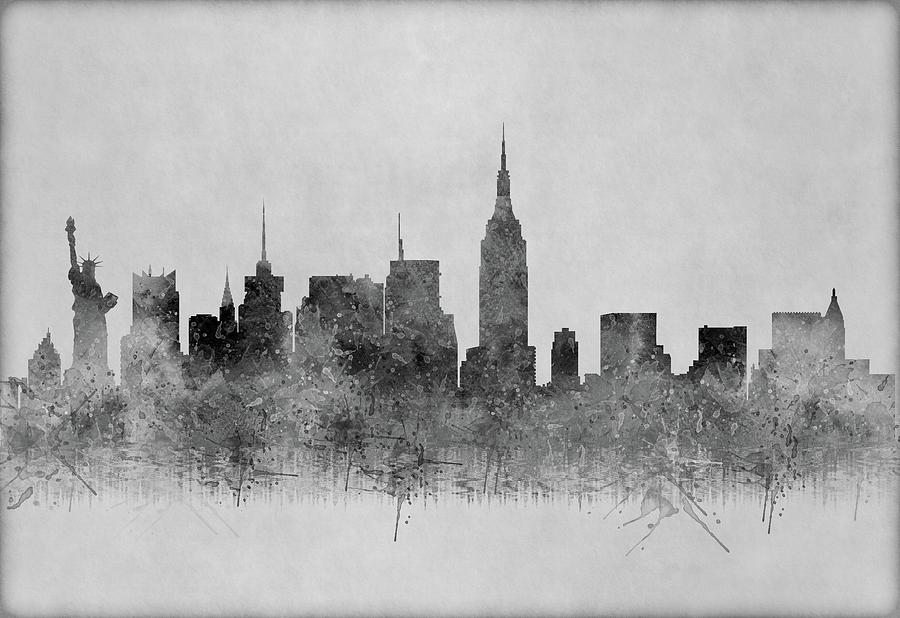 New York Digital Art - Black And White New York Skylines Splashes And Reflections by Georgeta Blanaru