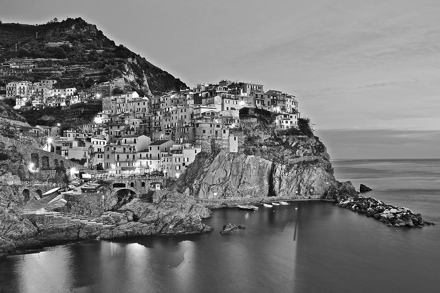 Manarola Photograph - Black and White Night for Manarola by Frozen in Time Fine Art Photography