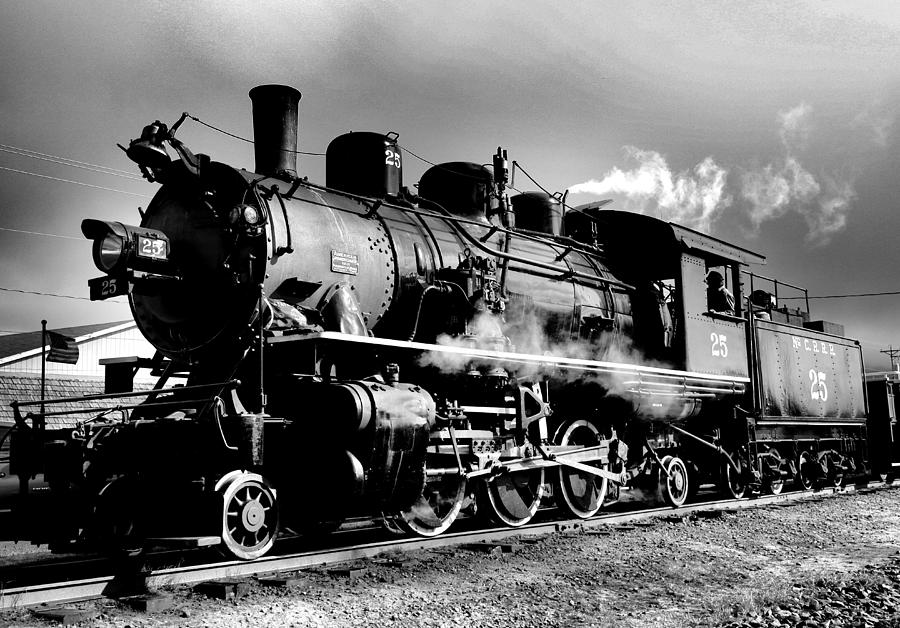 Black And White Of An Old Steam Engine Photograph