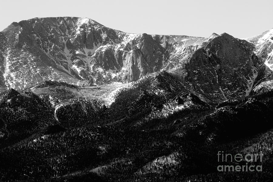 Black And White Of Pikes Peak In Winter Photograph