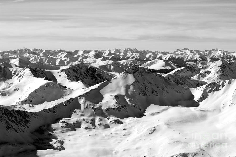 Mount Elbert Photograph - Black And White Of The Summit Of Mount Elbert Colorado In Winter by Steve Krull