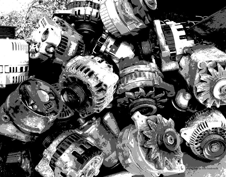 Black And White Old Auto Parts Photograph by Mike Loudermilk