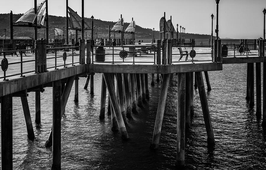 Pier Photograph - Black And White On The Pier by Michael Hope
