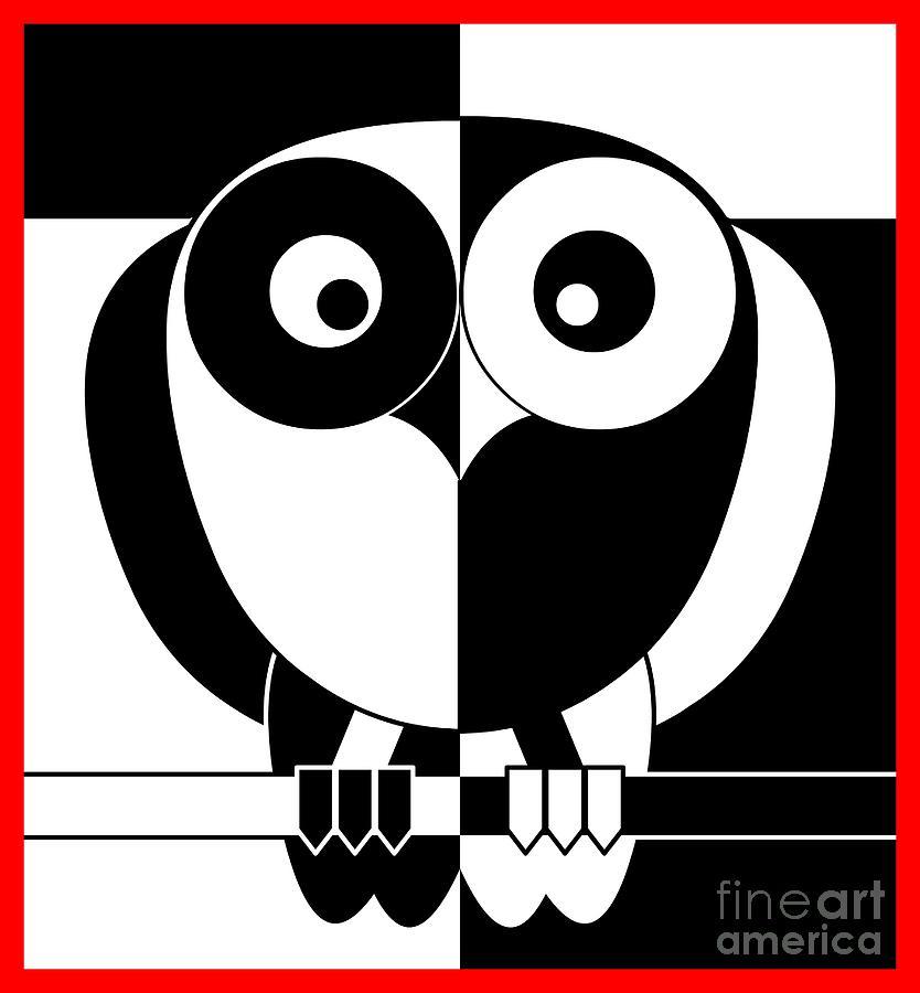 Owl Digital Art - Black And White Owl by Santi Goma Rodriguez