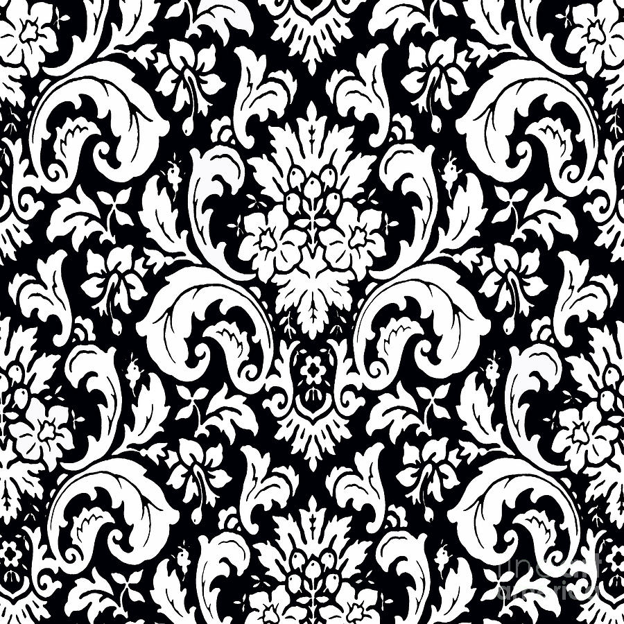 Black And White Paisley Pattern Vintage Painting By