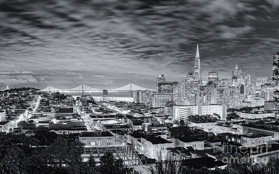 Downtown photograph black and white panorama of san francisco skyline and oakland bay bridge from