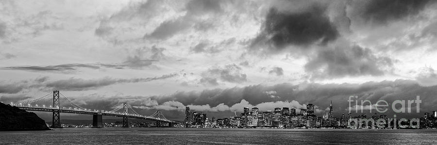 San Francisco Photograph - Black And White Panorama Of San Francisco Skyline And Oakland Bay Bridge From Treasure Island  by Silvio Ligutti