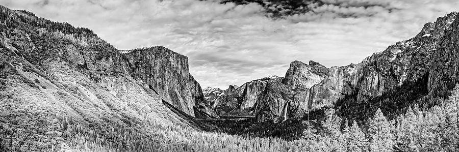 Yosemite photograph black and white panorama of yosemite valley from tunnel view scenic overlook