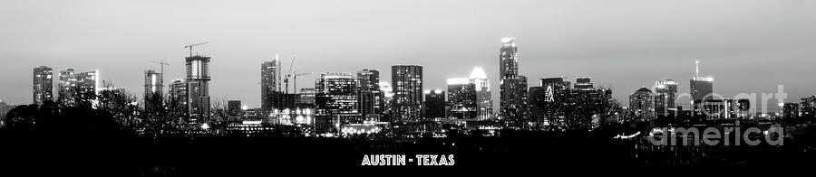 Austin Photograph - Black And White Panoramic View Of Downtown Austin by PorqueNo Studios
