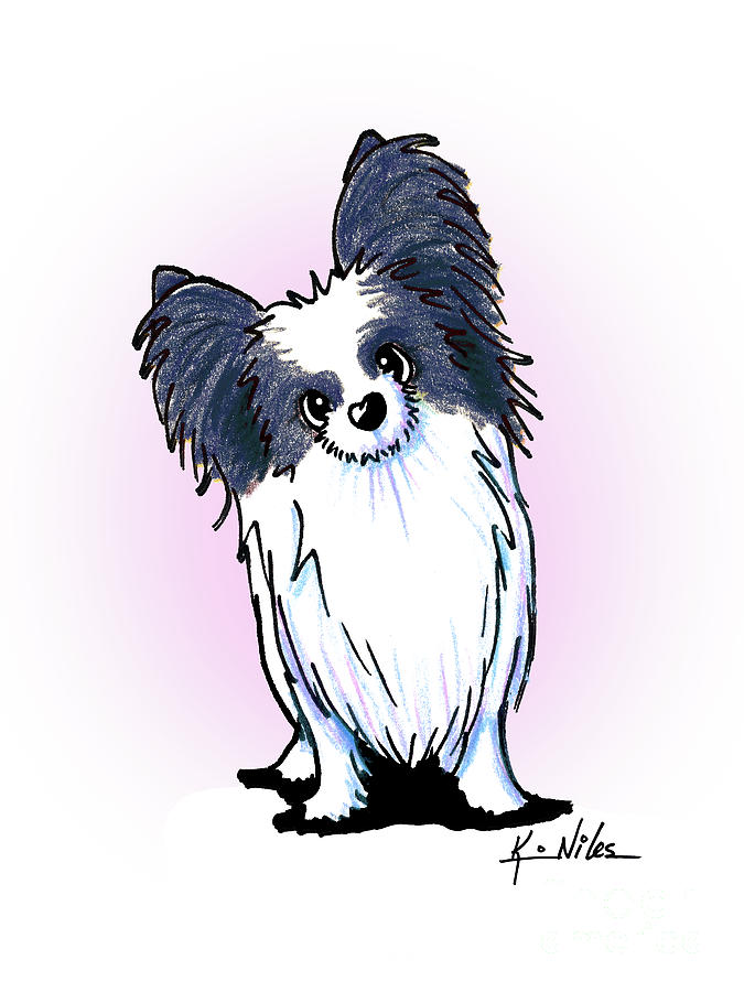 Papillon Drawing - Black And White Papillon by Kim Niles