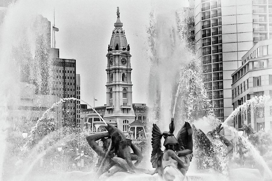 Black Photograph - Black And White Philadelphia - City Hall And Swann Fountain by Bill Cannon