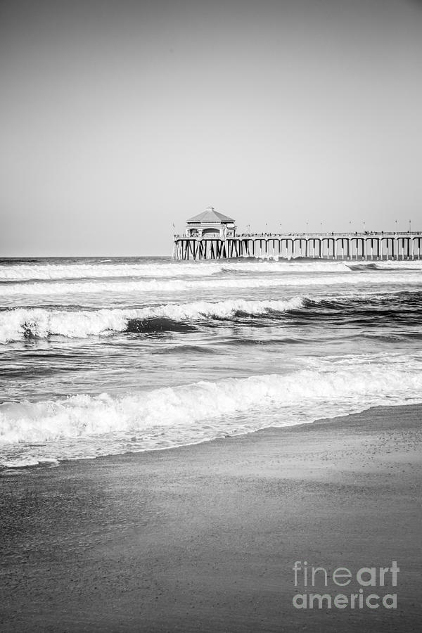Black And White Photo Of Huntington Beach Pier Photograph
