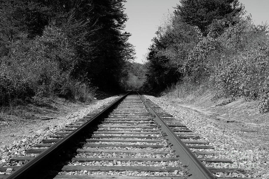 Black And White Railroad Photograph By Michael Waters