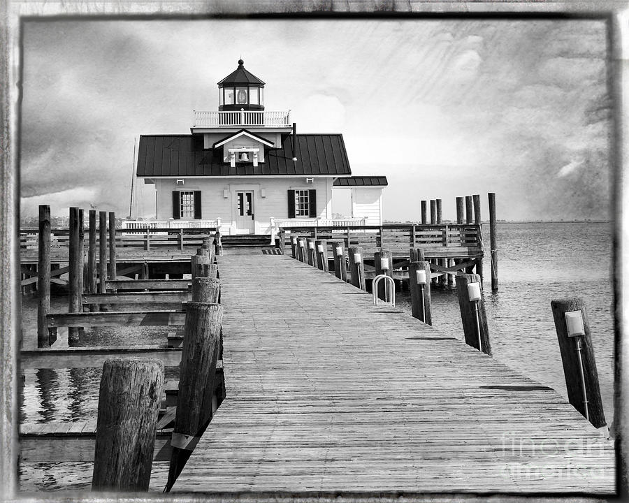 Water Photograph - Black And White  Roanoke Lighthouse by Tom Gari Gallery-Three-Photography