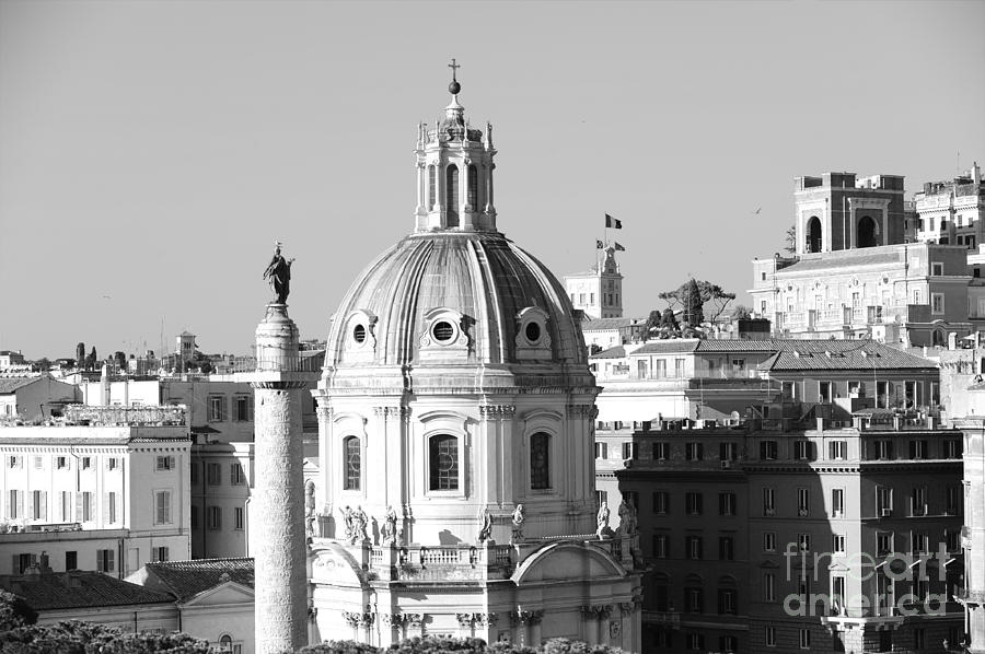Black And White Photograph - Black And White Rooftop In Rome by Stefano Senise