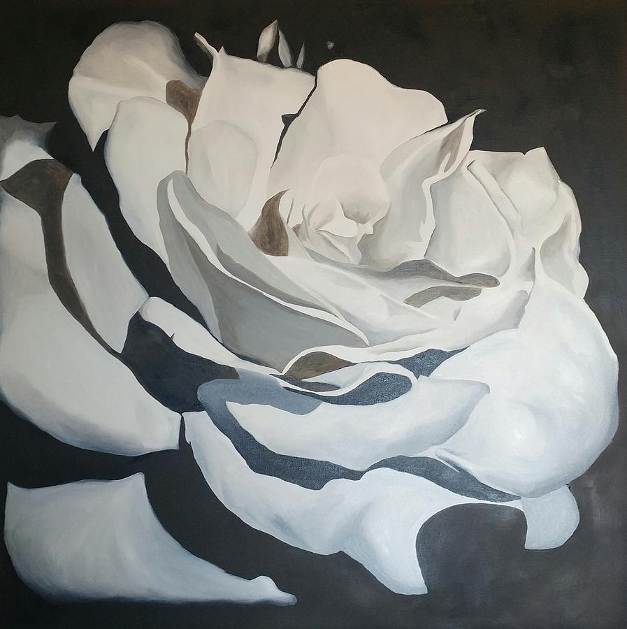Black and white painting black and white rose by chris boothe