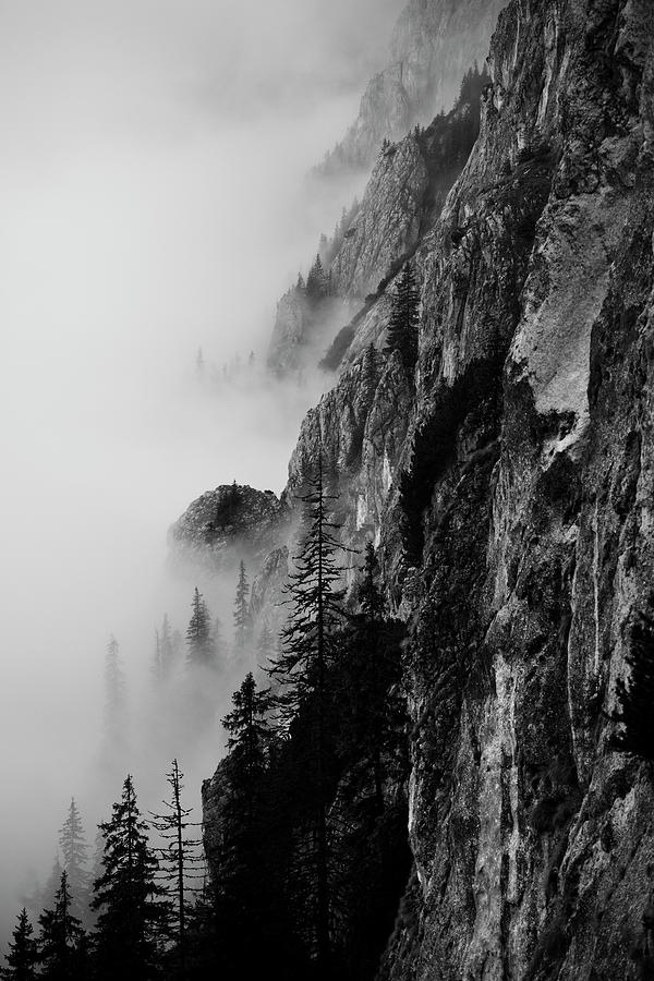 Vertical Photograph - Black And White Silhouette Of The Mountains. by Made By  Vitaliebrega.com