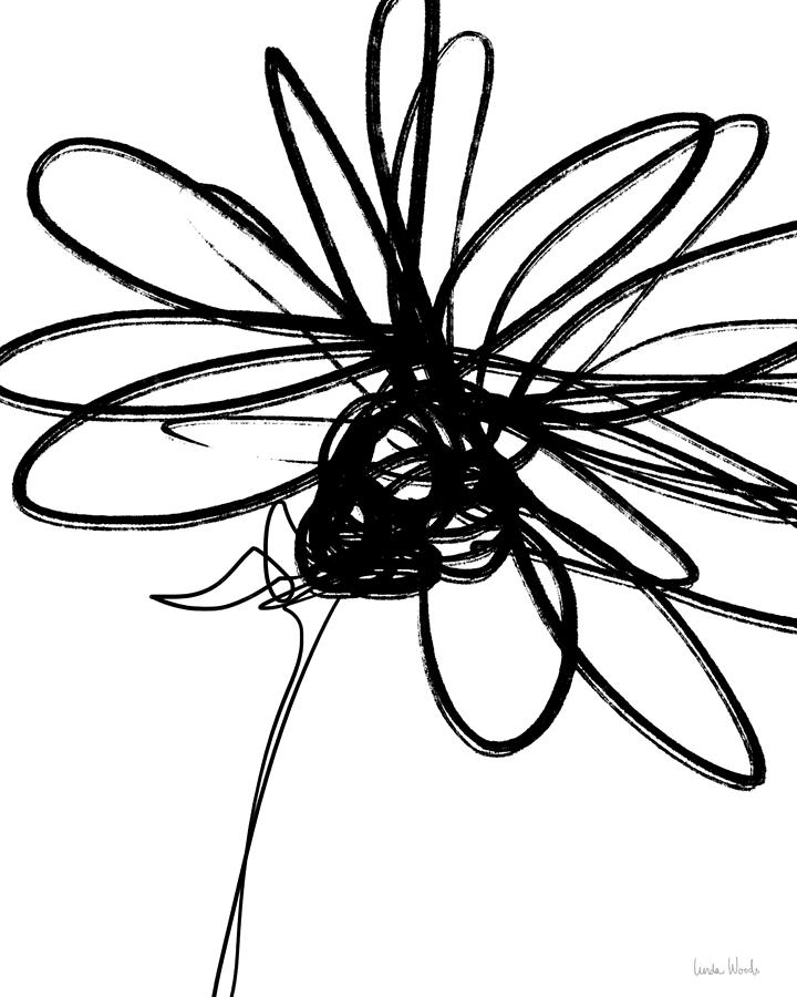 Black To Black Flowers 4: Black And White Sketch Flower 4- Art By Linda Woods