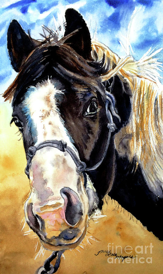 Equine Painting - Black And White by Tracy Rose Moyers