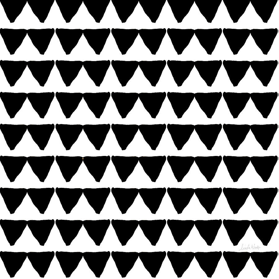 Triangles Mixed Media - Black And White Triangles- Art By Linda Woods by Linda Woods