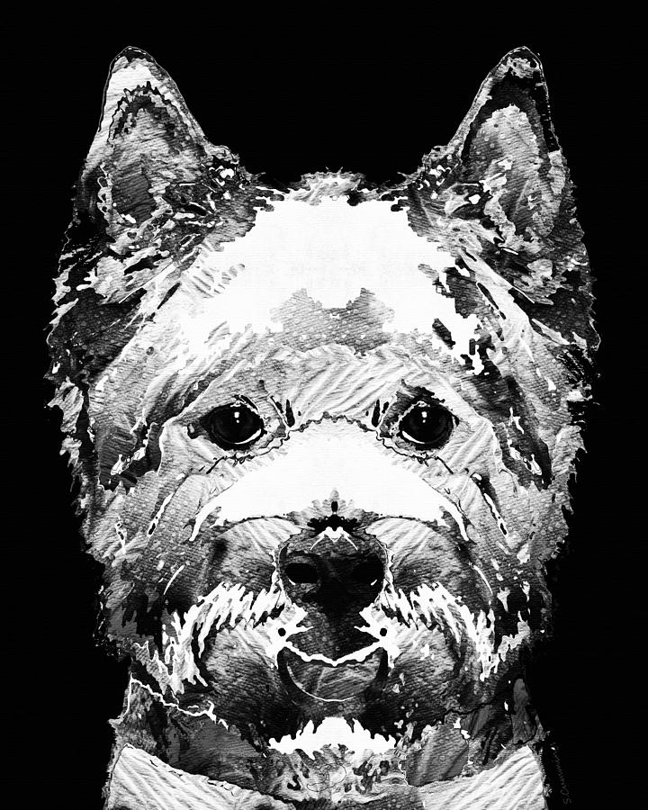Westie Painting - Black And White West Highland Terrier Dog Art Sharon Cummings by Sharon Cummings