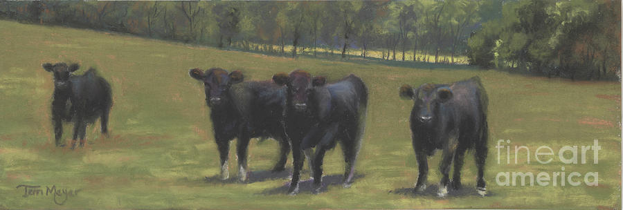Black Angus Buddies Painting by Terri  Meyer