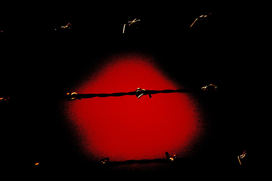 Prison Break Photograph - Black Barbed Wire over Black and Blood Red Background Eerie Imprisonment Scene by Colleen Cornelius