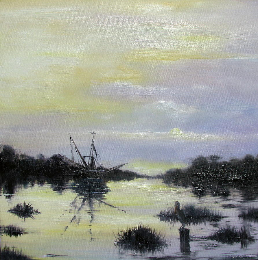 Oil Spill Painting - Black Bayou by Judy Merrell