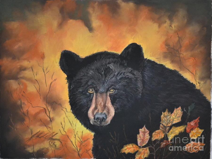 Black Bear Pastel - Black Bear by John Huntsman