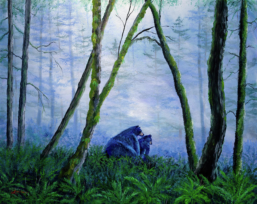 Black Bears in the Mist by Laura Iverson