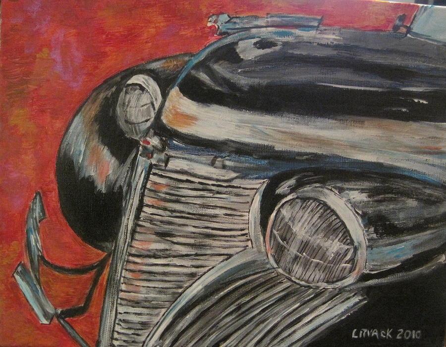 Litvack Cadillac Durham Frontclip 1939 Cars Painting - Black Beauty by Michael Litvack