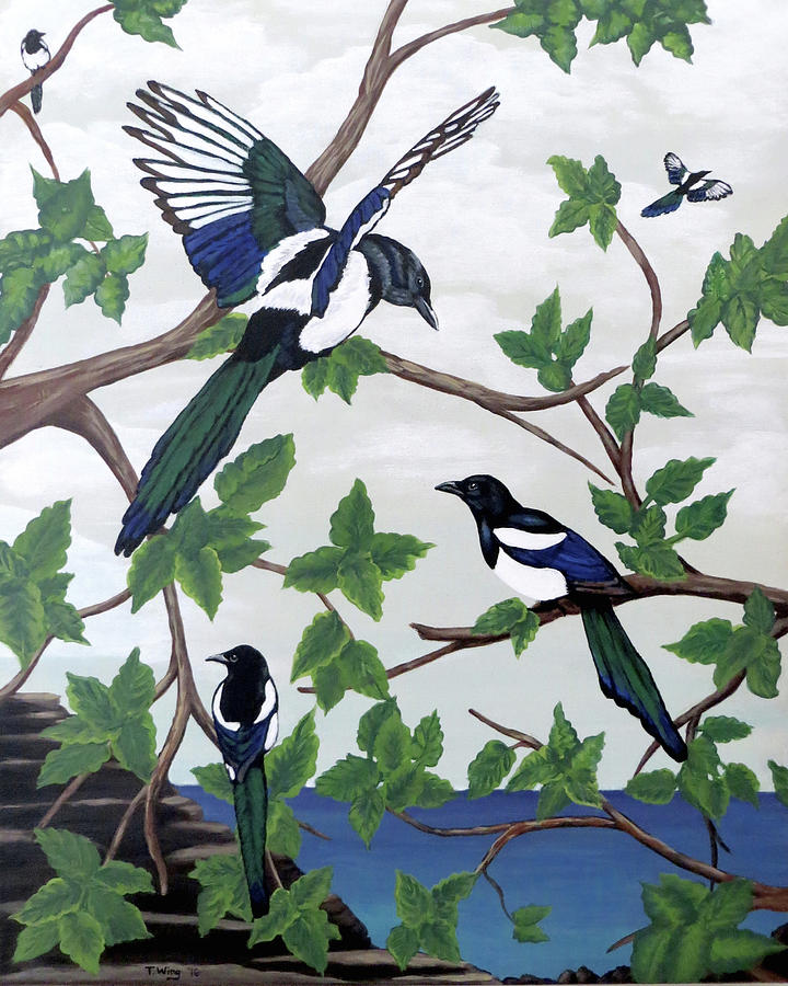 Black Billed Magpies by Teresa Wing