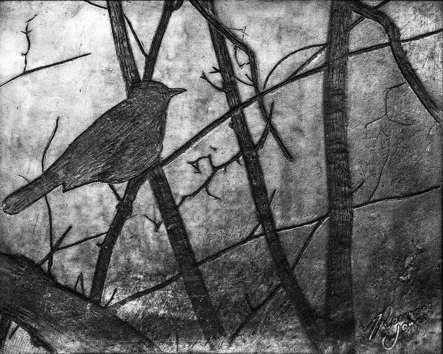 Black Bird Encaustic Mixed Media