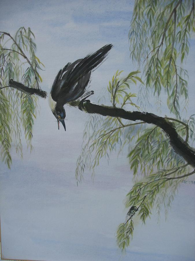 Bird Painting - Black Bird by Gerry Fong