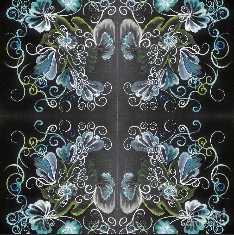 Black Painting - Black Blue Green by Christina Little